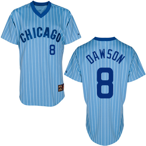 Men's Majestic Chicago Cubs #8 Andre Dawson Authentic Blue/White Strip Cooperstown Throwback MLB Jersey
