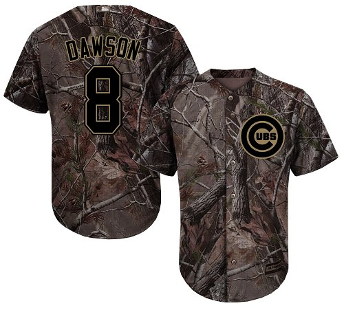 Men's Majestic Chicago Cubs #8 Andre Dawson Authentic Camo Realtree Collection Flex Base MLB Jersey
