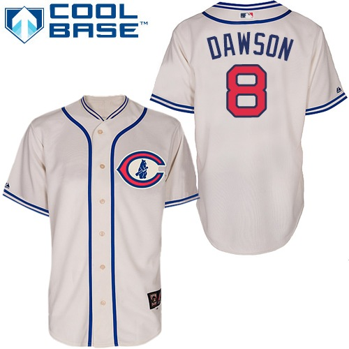 Men's Majestic Chicago Cubs #8 Andre Dawson Authentic Cream 1929 Turn Back The Clock MLB Jersey