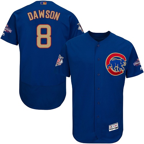 Men's Majestic Chicago Cubs #8 Andre Dawson Authentic Royal Blue 2017 Gold Champion Flex Base MLB Jersey