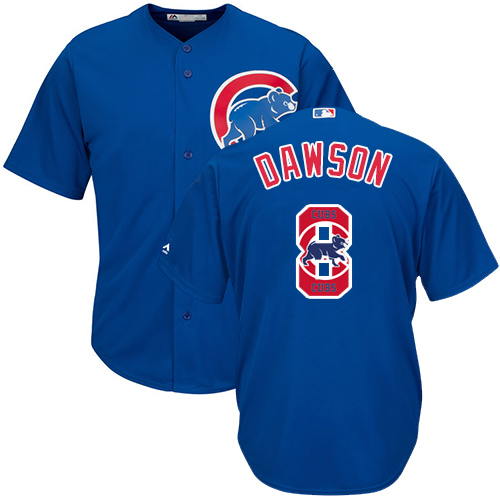 Men's Majestic Chicago Cubs #8 Andre Dawson Authentic Royal Blue Team Logo Fashion Cool Base MLB Jersey