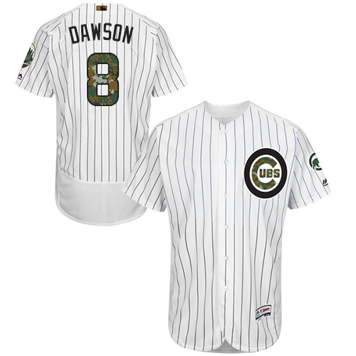 Men's Majestic Chicago Cubs #8 Andre Dawson Authentic White 2016 Memorial Day Fashion Flex Base MLB Jersey