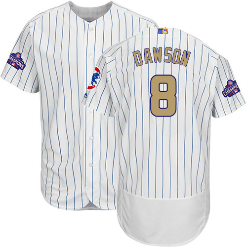 Men's Majestic Chicago Cubs #8 Andre Dawson Authentic White 2017 Gold Program Flex Base MLB Jersey