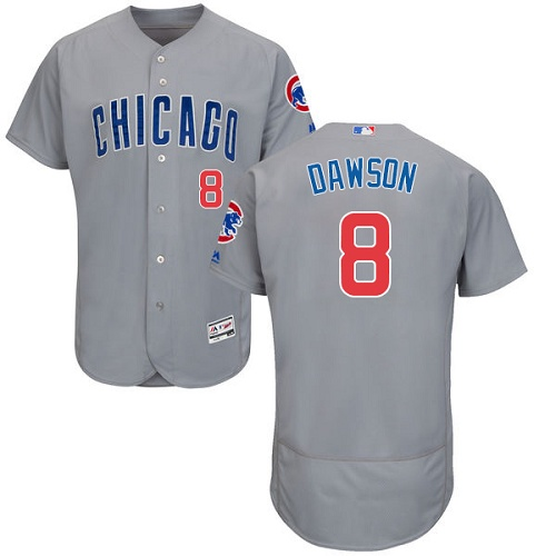 Men's Majestic Chicago Cubs #8 Andre Dawson Grey Road Flex Base Authentic Collection MLB Jersey
