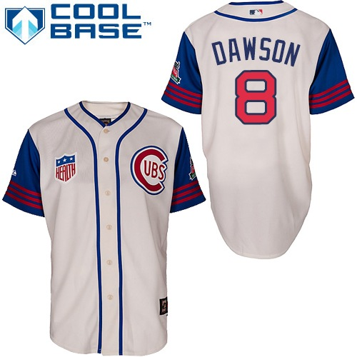 Men's Majestic Chicago Cubs #8 Andre Dawson Replica Cream/Blue 1942 Turn Back The Clock MLB Jersey