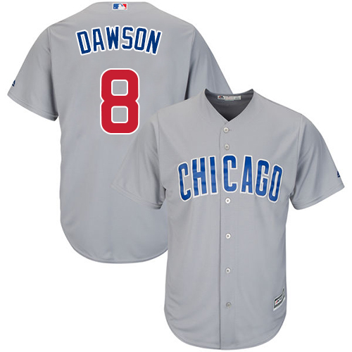 Men's Majestic Chicago Cubs #8 Andre Dawson Replica Grey Road Cool Base MLB Jersey
