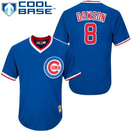 Men's Majestic Chicago Cubs #8 Andre Dawson Replica Royal Blue Cooperstown MLB Jersey