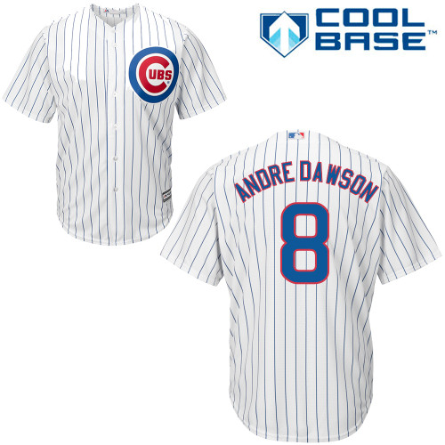 Men's Majestic Chicago Cubs #8 Andre Dawson Replica White Home Cool Base MLB Jersey
