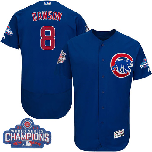 Men's Majestic Chicago Cubs #8 Andre Dawson Royal Blue 2016 World Series Champions Flexbase Authentic Collection MLB Jersey