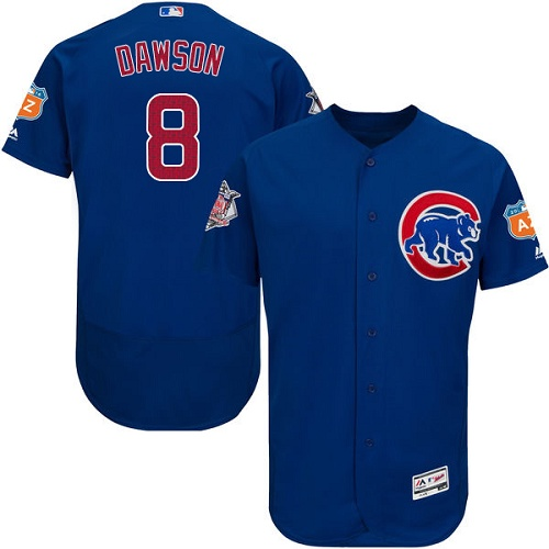 Men's Majestic Chicago Cubs #8 Andre Dawson Royal Blue Alternate Flex Base Authentic Collection MLB Jersey