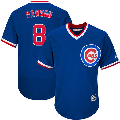 Men's Majestic Chicago Cubs #8 Andre Dawson Royal Blue Flexbase Authentic Collection Cooperstown MLB Jersey
