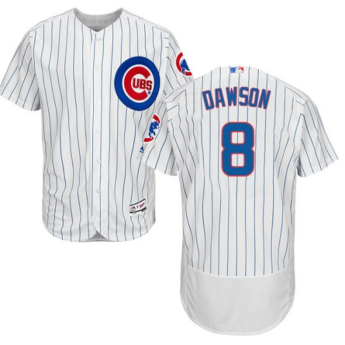 Men's Majestic Chicago Cubs #8 Andre Dawson White Home Flex Base Authentic Collection MLB Jersey