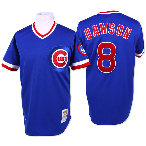 Men's Mitchell and Ness Chicago Cubs #8 Andre Dawson Replica Blue Throwback MLB Jersey