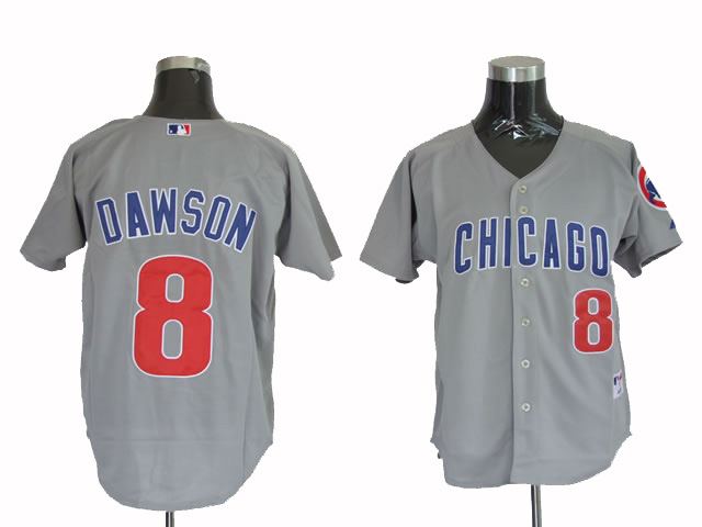 Men's Mitchell and Ness Chicago Cubs #8 Andre Dawson Replica Grey Throwback MLB Jersey