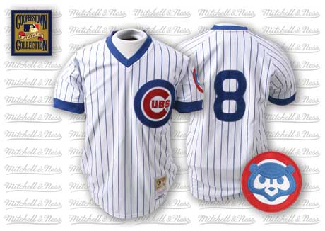 Men's Mitchell and Ness Chicago Cubs #8 Andre Dawson Replica White/Blue Strip Throwback MLB Jersey