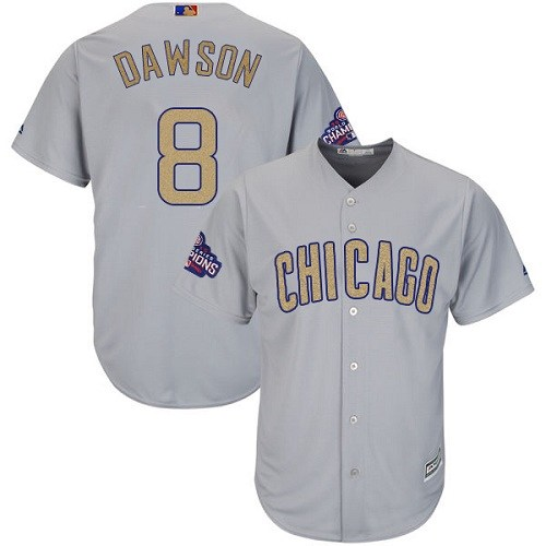 Women's Majestic Chicago Cubs #8 Andre Dawson Authentic Gray 2017 Gold Champion MLB Jersey