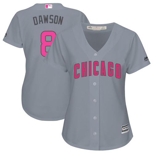 Women's Majestic Chicago Cubs #8 Andre Dawson Authentic Grey Mother's Day Cool Base MLB Jersey