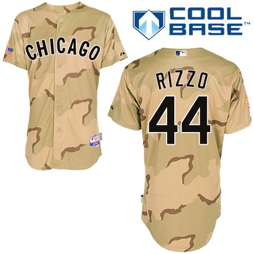 Men's Majestic Chicago Cubs #44 Anthony Rizzo Authentic Camo Commemorative Military Day Cool Base MLB Jersey