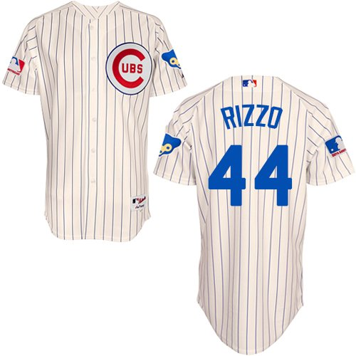 Men's Majestic Chicago Cubs #44 Anthony Rizzo Authentic Cream 1969 Turn Back The Clock MLB Jersey