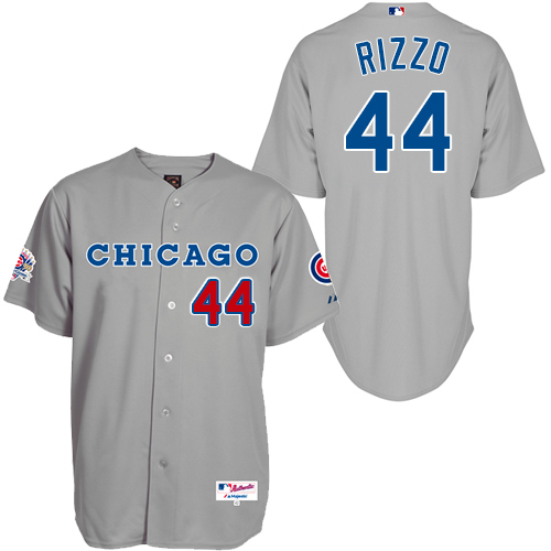 Men's Majestic Chicago Cubs #44 Anthony Rizzo Authentic Grey 1990 Turn Back The Clock MLB Jersey