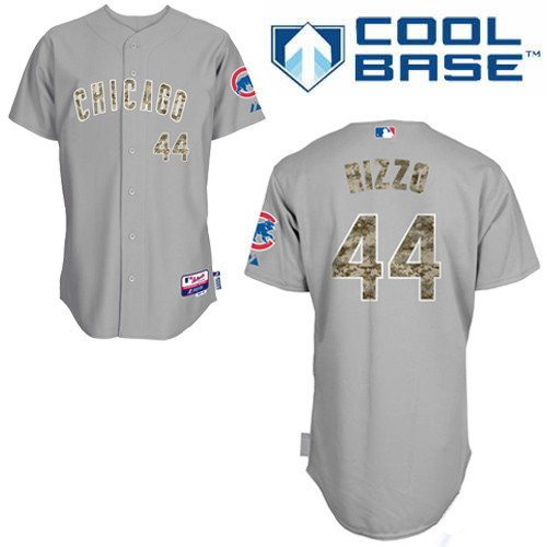 Men's Majestic Chicago Cubs #44 Anthony Rizzo Authentic Grey USMC Cool Base MLB Jersey