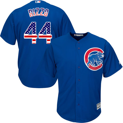 Men's Majestic Chicago Cubs #44 Anthony Rizzo Authentic Royal Blue USA Flag Fashion MLB Jersey