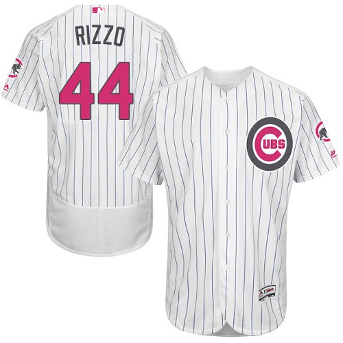 Men's Majestic Chicago Cubs #44 Anthony Rizzo Authentic White 2016 Mother's Day Fashion Flex Base MLB Jersey