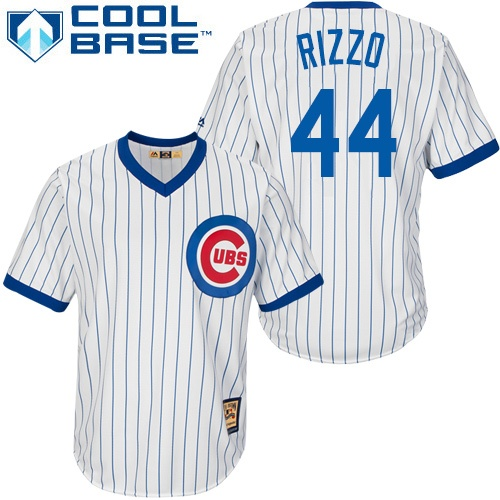 Men's Majestic Chicago Cubs #44 Anthony Rizzo Authentic White Home Cooperstown MLB Jersey