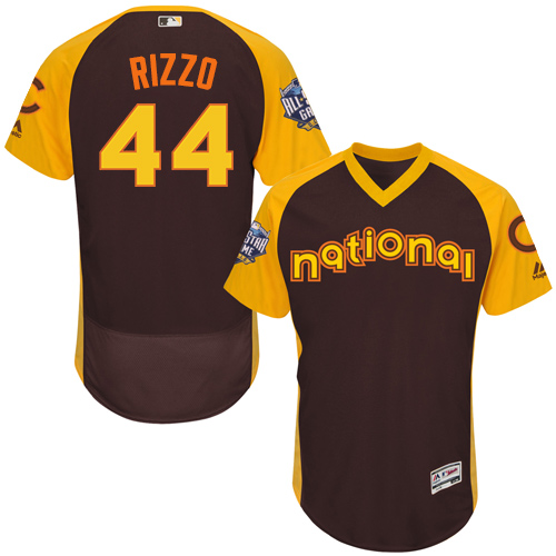 Men's Majestic Chicago Cubs #44 Anthony Rizzo Brown 2016 All-Star National League BP Authentic Collection Flex Base MLB Jersey