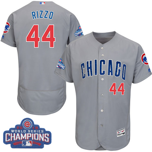 Men's Majestic Chicago Cubs #44 Anthony Rizzo Grey 2016 World Series Champions Flexbase Authentic Collection MLB Jersey