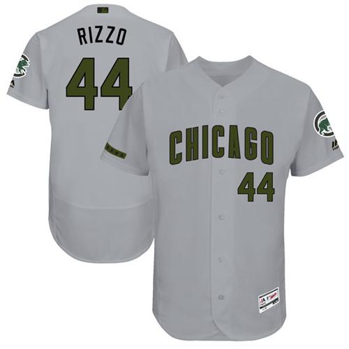Men's Majestic Chicago Cubs #44 Anthony Rizzo Grey Memorial Day Authentic Collection Flex Base MLB Jersey