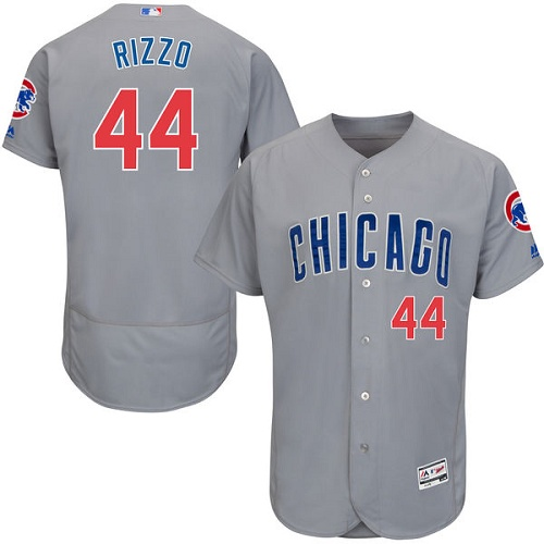 Men's Majestic Chicago Cubs #44 Anthony Rizzo Grey Road Flex Base Authentic Collection MLB Jersey