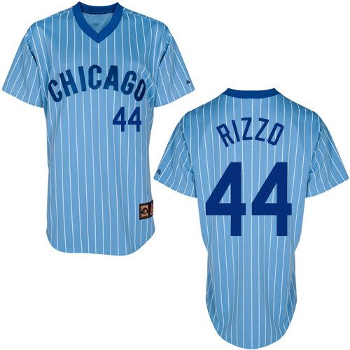 Men's Majestic Chicago Cubs #44 Anthony Rizzo Replica Blue/White Strip Cooperstown Throwback MLB Jersey