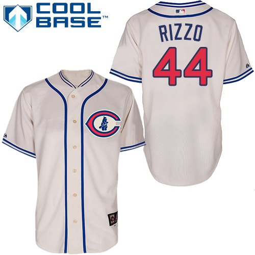 Men's Majestic Chicago Cubs #44 Anthony Rizzo Replica Cream 1929 Turn Back The Clock MLB Jersey