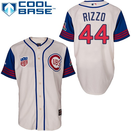 Men's Majestic Chicago Cubs #44 Anthony Rizzo Replica Cream/Blue 1942 Turn Back The Clock MLB Jersey