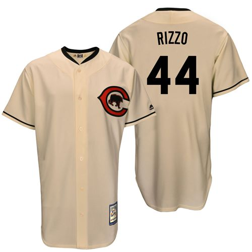 Men's Majestic Chicago Cubs #44 Anthony Rizzo Replica Cream Cooperstown Throwback MLB Jersey