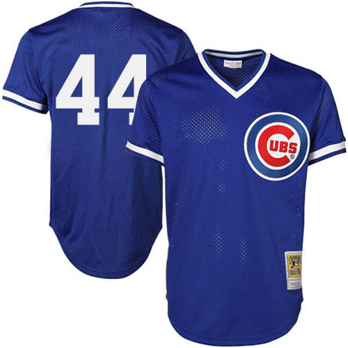 Men's Majestic Chicago Cubs #44 Anthony Rizzo Replica Royal Blue Throwback MLB Jersey