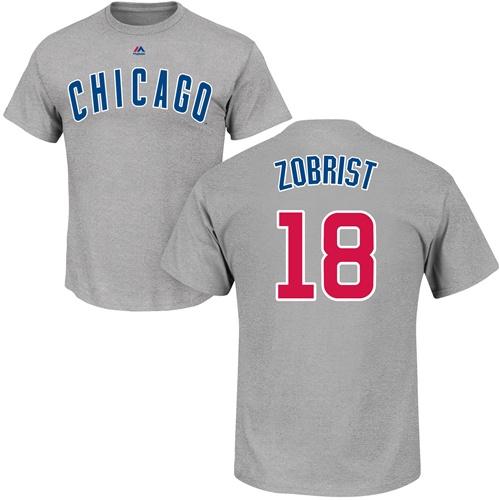 MLB Nike Chicago Cubs #18 Ben Zobrist Gray Name & Number T-Shirt