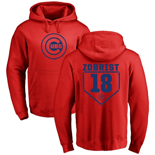 MLB Nike Chicago Cubs #18 Ben Zobrist Red RBI Pullover Hoodie
