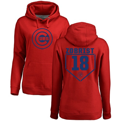 MLB Women's Nike Chicago Cubs #18 Ben Zobrist Red RBI Pullover Hoodie