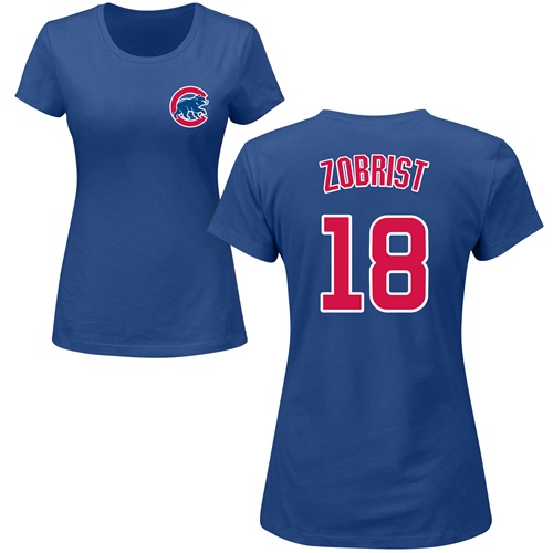 MLB Women's Nike Chicago Cubs #18 Ben Zobrist Royal Blue Name & Number T-Shirt