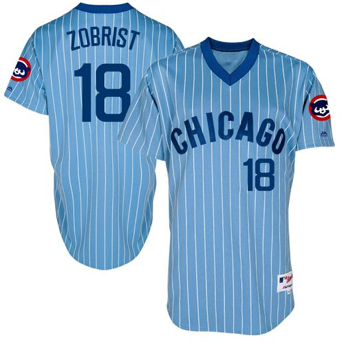 Men's Majestic Chicago Cubs #18 Ben Zobrist Authentic Blue Cooperstown Throwback MLB Jersey