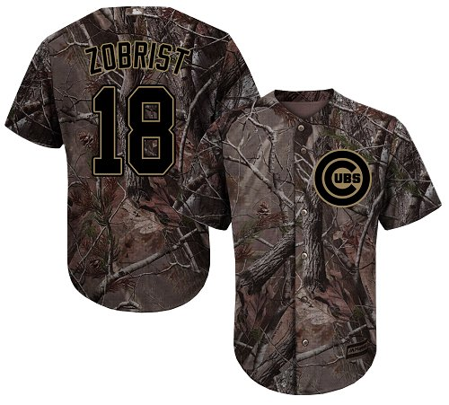 Men's Majestic Chicago Cubs #18 Ben Zobrist Authentic Camo Realtree Collection Flex Base MLB Jersey