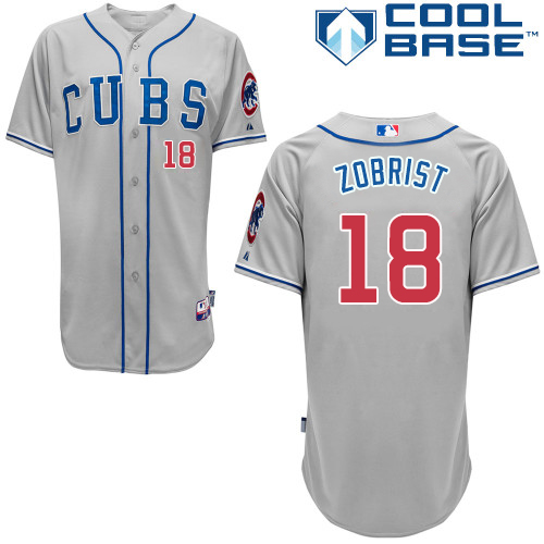 Men's Majestic Chicago Cubs #18 Ben Zobrist Authentic Grey Alternate Road Cool Base MLB Jersey