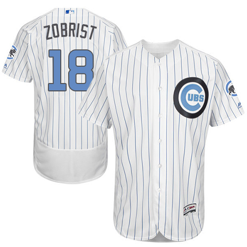 Men's Majestic Chicago Cubs #18 Ben Zobrist Authentic White 2016 Father's Day Fashion Flex Base MLB Jersey
