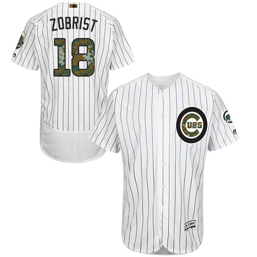 Men's Majestic Chicago Cubs #18 Ben Zobrist Authentic White 2016 Memorial Day Fashion Flex Base MLB Jersey