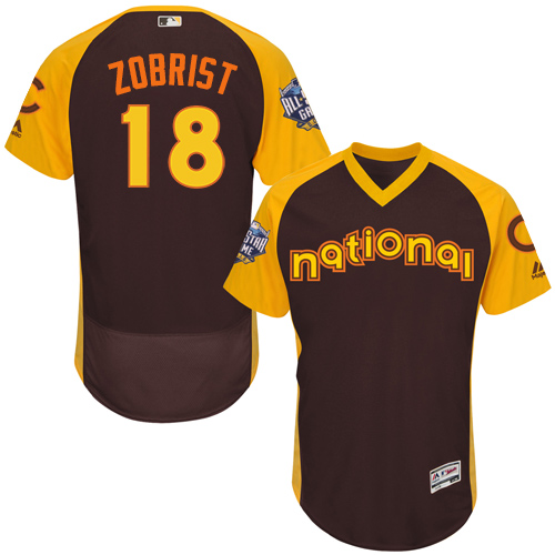 Men's Majestic Chicago Cubs #18 Ben Zobrist Brown 2016 All-Star National League BP Authentic Collection Flex Base MLB Jersey