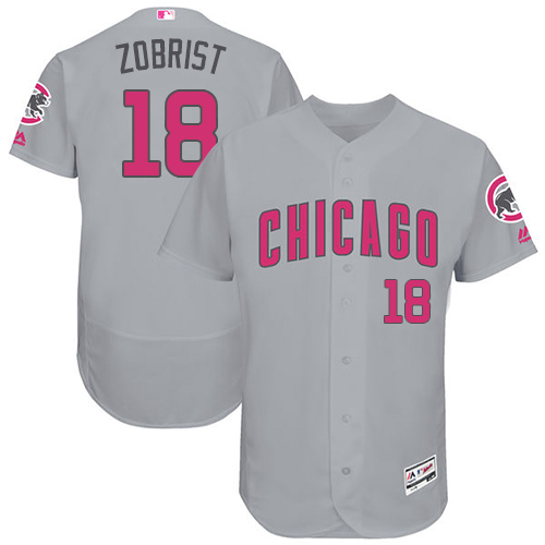 Men's Majestic Chicago Cubs #18 Ben Zobrist Grey Mother's Day Flexbase Authentic Collection MLB Jersey