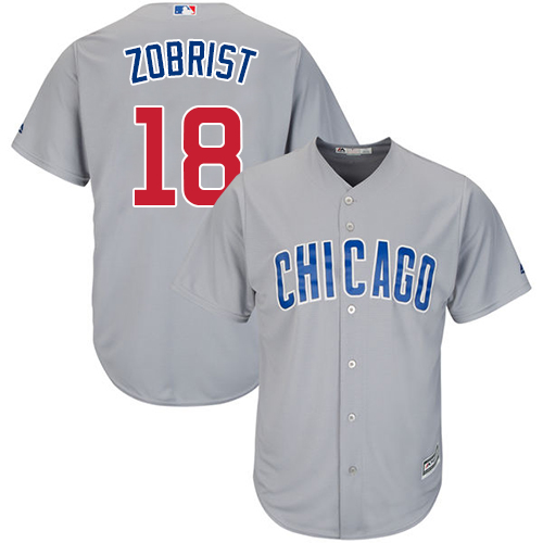 Men's Majestic Chicago Cubs #18 Ben Zobrist Replica Grey Road Cool Base MLB Jersey