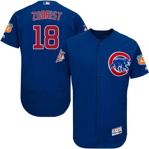 Men's Majestic Chicago Cubs #18 Ben Zobrist Royal Blue Alternate Flex Base Authentic Collection MLB Jersey